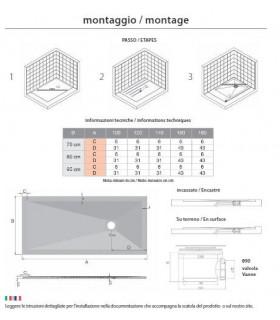 PIATTO DOCCIA 90 X 100 BIANCO IN MARMORESINA ULTRASLIM H 2,5 RETTANGOLARE - 2